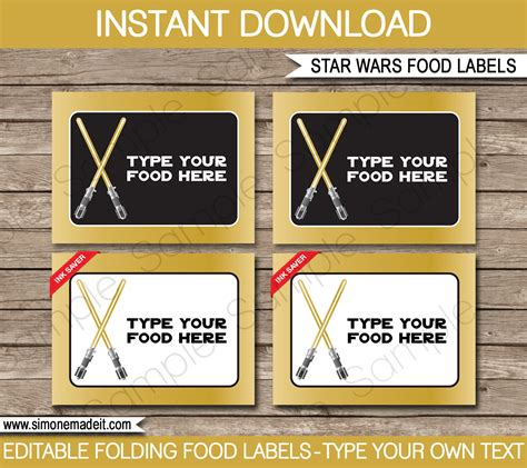 Gold Star Wars Printables Invitations Decorations Wars Food Labels Template Free
