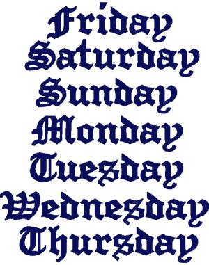 Design Week Font | old english font days of the week embroidery design