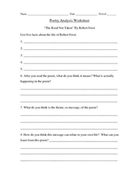 Poetry Analysis Worksheet Answers by Quot The Road Not Taken Quot By Robert Poetry By Erin