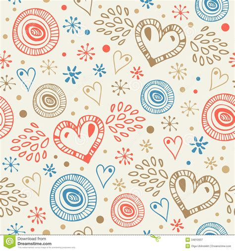 doodle free abstract decorative seamless background with fly hearts