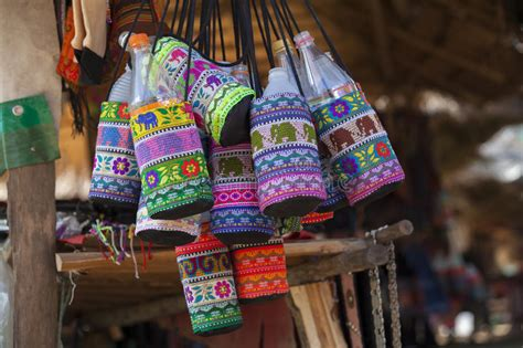Handmade In Thailand - colorful handmade bag in chiang thailand stock image