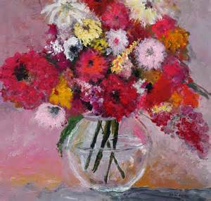 flowers in a glass vase painting by marilyn woods
