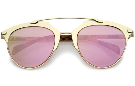 0204s Pink Pink Mirror Lens vintage inspired metallic gold w pink mirror lenses sunglasses