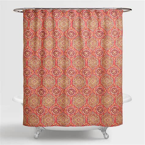 coral shower curtain coral medallion frieda shower curtain world market