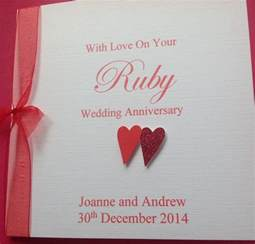 handmade personalised wedding anniversary card ruby wedding 40th ebay