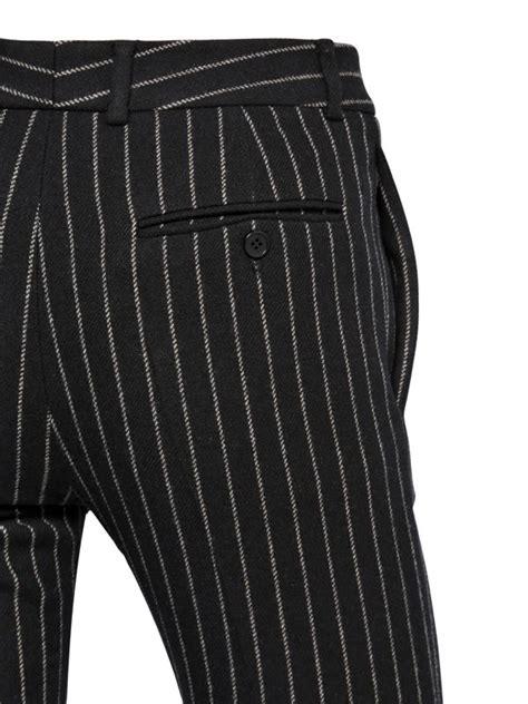Flanel Black Big White laurent 17cm striped wool flannel in black for lyst