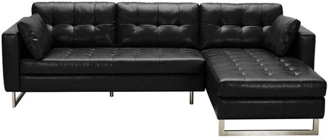 black leather couch with chaise wilson black fog leather sofa chaise 100833 sunpan