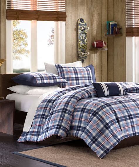 boy comforter plaid boys bedding elliot collection mi zone