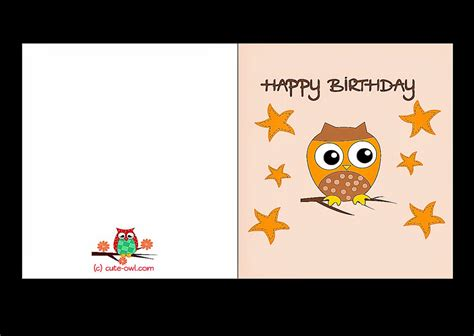 Printable Owl Card Template by Print Out Birthday Cards Free Coloring Sheet
