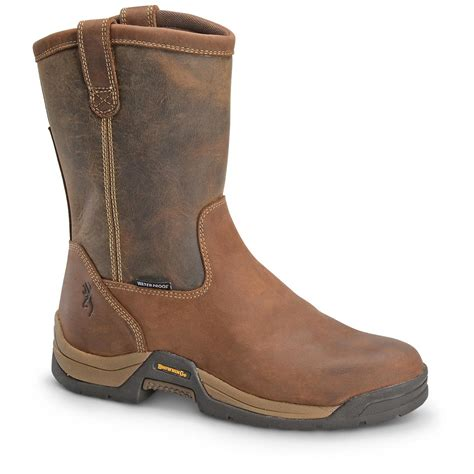 pull on boots browning ranch waterproof pull on work boots brown