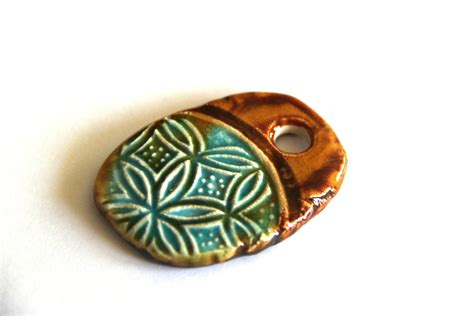 Pottery Jewelry Handmade - handmade ceramic pendant handmade components for jewelry