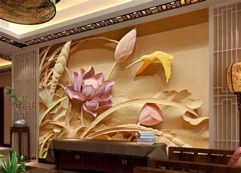 where to buy paintings for home decoration aliexpress com buy wood carving lotus mural tv backdrop