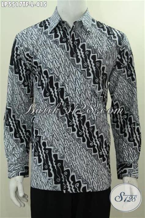 Baju Lengan Panjang Warna Hitam Putih hem batik modis halus mewah lengan panjang pakai furing busana batik modis warna hitam putih