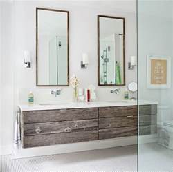 reclaimed wood floating vanity contemporary bathroom