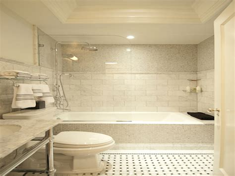 marble subway tiles drop  bathtub tub tiled interior designs