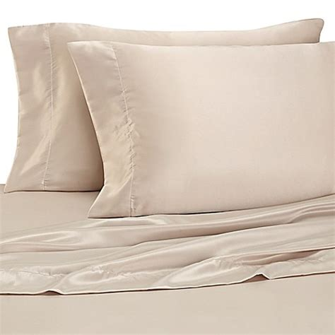 silk pillow cases bed bath beyond buy satin luxury standard pillowcases in taupe set of 2