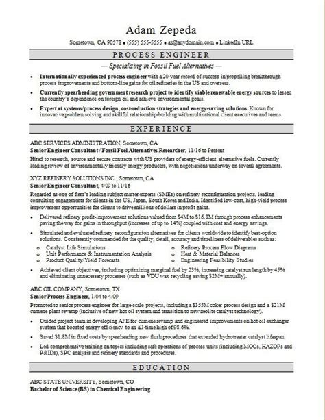 process engineer sle resume process engineer resume sle