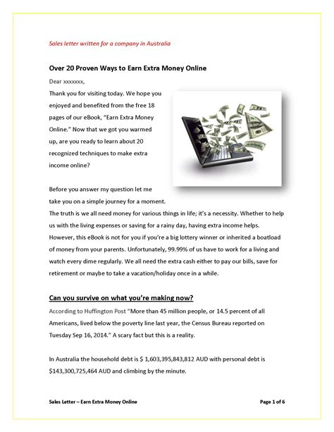 Sle Letter For Service Money sales letters grovers copywriting