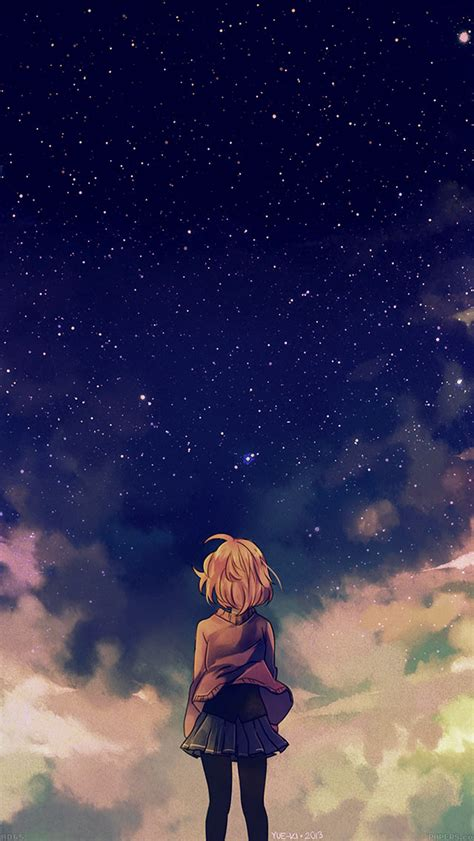 wallpaper anime iphone 4 ad65 starry space illust anime girl