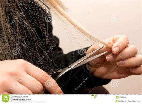 woman scissor cut hair styles scissors haircut stock photo image 13420560