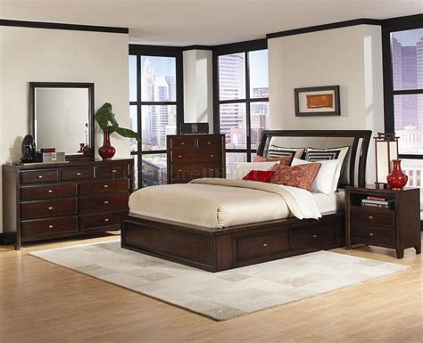 distressed cherry finish contemporary bedroom w storage bed