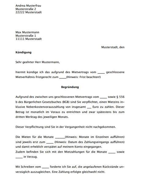 Musterbrief K Ndigung Wohnung Vermieter fristlose k 252 ndigung mietvertrag k 252 ndigung vorlage fwptc