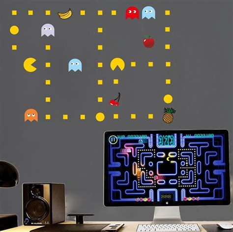 pac wall stickers wall decal pacman wall decals gamer s room ideas pac wall pacman build a wall pac
