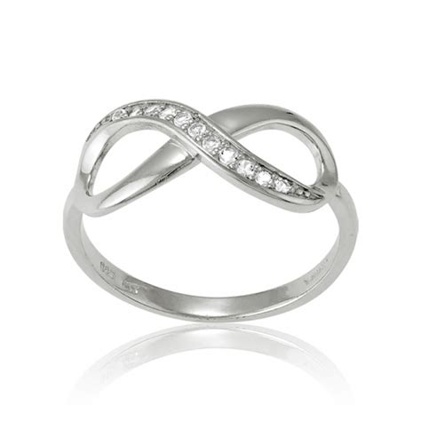 sterling silver infinity ring with white topaz accents