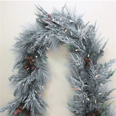 frost covered 6 battery operated garland