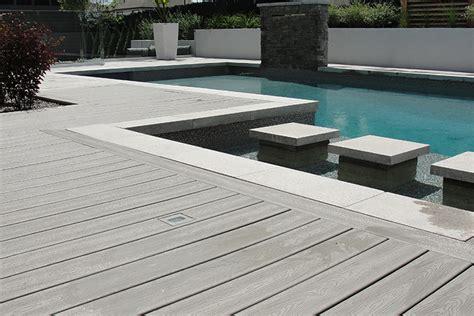 synthetic wood flooring wood deck around inground pool