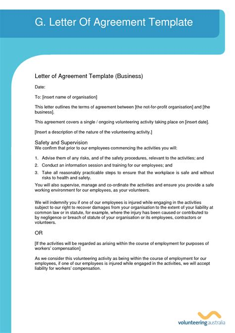 Sle Agreement Letter Between Company And Employee 10 Best Images Of Letter Of Agreement Template Agreement Letter Format Sle Letter Of