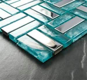 Mosaic Glass Backsplash Kitchen Glass Mosaic Tiles Silver Stainless Steel Mosaic Tile