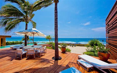 wallpaper sea bay beach palm trees swimming pool