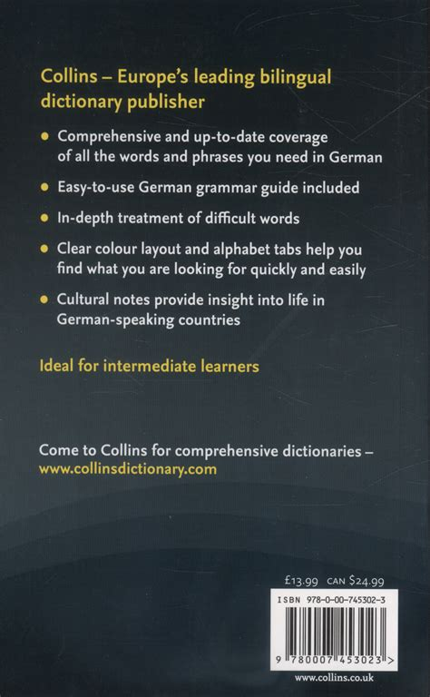 0007196490 collins dictionary and grammar collins german dictionary grammar by collins