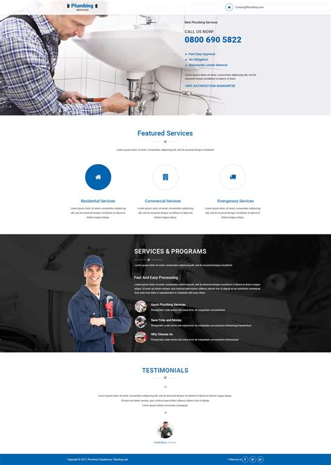 Html5 Responsive Best Converting Plumbing Ppc Landing Page Design With Free Builder To Capture Ppc Landing Page Templates
