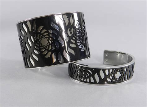 Montblanc Mb013 Black Silver 1 mont blanc black and silver cut out cuff bracelet set at