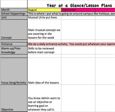 year at a glance lesson plan template for music teachers tpt