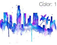 watercolor tattoos in los angeles city skylines vector illustrations and los angeles on