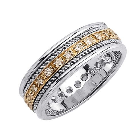 62ct tcw 14k two tone gold rope braid band 7mm 3000547