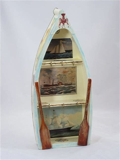 wooden boat keychain row boat key holder wooden boat hand painted key holder