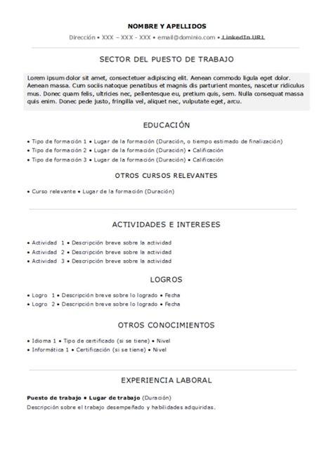 Modelo Curriculum Vitae Experiencia Descargar Modelo De Resume Experiencia