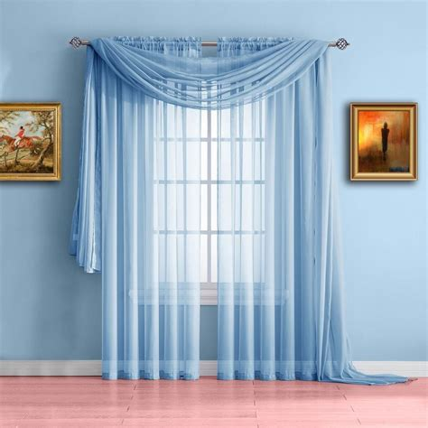 Warm Home Designs Baby Blue Window Scarf Valance, Sheer Blue Curtains   WarmHomeDesigns.com