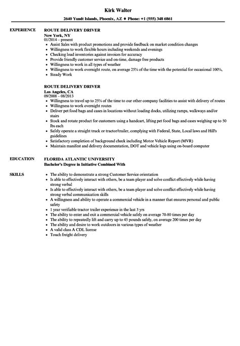 Delivery Driver Resume by Route Delivery Driver Resume Sles Velvet