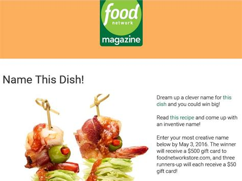 Food Network Magazine Sweepstakes - the food network magazine name this dish contest sweepstakes fanatics