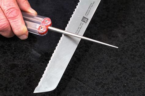 how to sharpen a bread knife or any serrated knife with