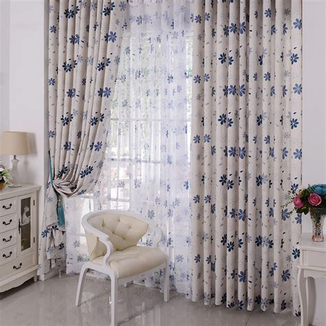 blue beige curtains blue flower beige curtains for room darkening of 2 panels