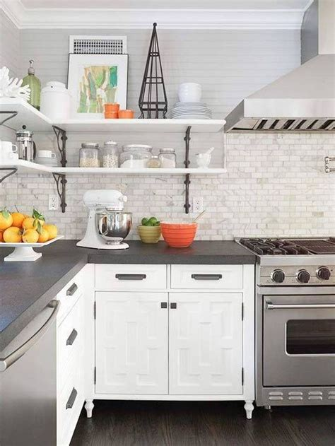 Gray Countertops With White Cabinets grey countertops edge cut white cabinets marble looking subway tile backsplash kitchen