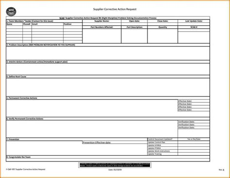 Corrective Request Form Template
