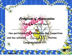 spelling bee certificate small business  forms