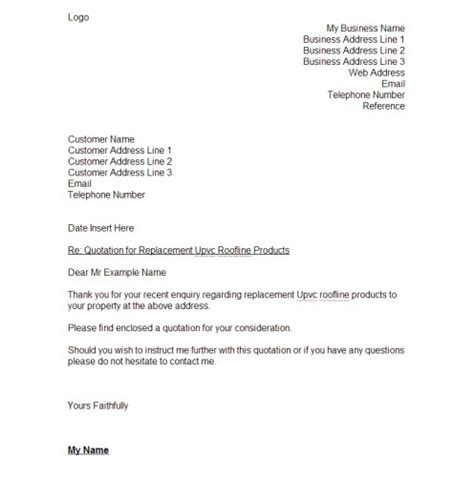 Business Letter Quote Template best photos of quote template letter business letter